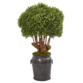 44 Boxwood Artificial Topiary Tree in Metal Planter Indoor/Outdoor - SKU #9770
