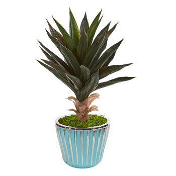 21 Agave Artificial Plant in a Turquoise Planter with Silver Trimming - SKU #9775