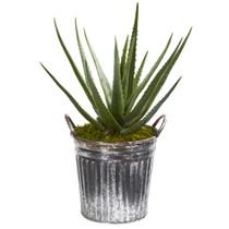 25 Aloe Artificial Plant in Vintage Metal Bucket - SKU #9777