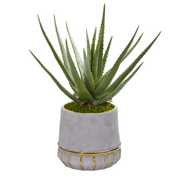 20 Aloe Artificial Plant in Stoneware Planter - SKU #9778