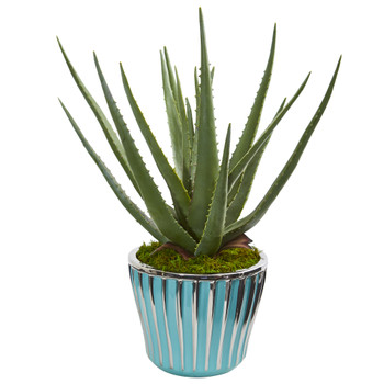 18 Aloe Artificial Plant in a Turquoise Planter - SKU #9781