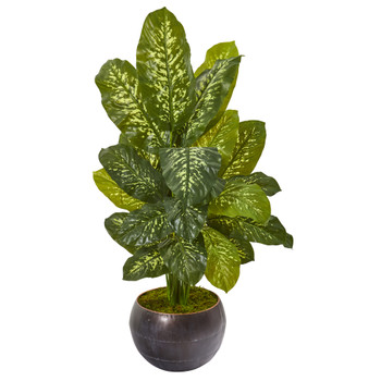 46 Dieffenbachia Artificial Plant in Metal Bowl Real Touch - SKU #9783