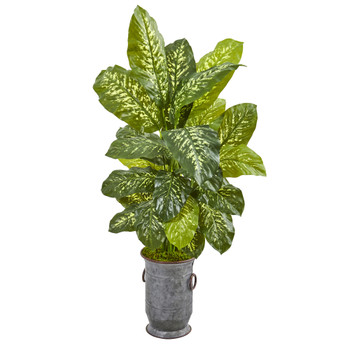 49 Dieffenbachia Artificial Plant in Vintage Metal Planter Real Touch - SKU #9784