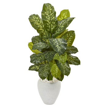 48 Dieffenbachia Artificial Plant in White Planter Real Touch - SKU #9786