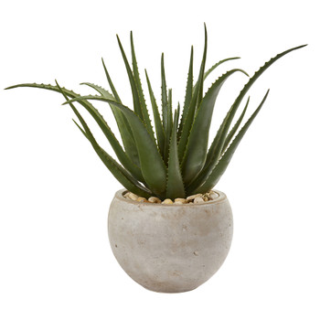 25 Aloe Artificial Plant in Sand Colored Planter - SKU #9788