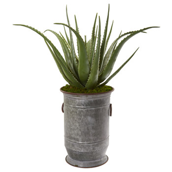 31 Aloe Artificial Plant in Metal Planter - SKU #9789