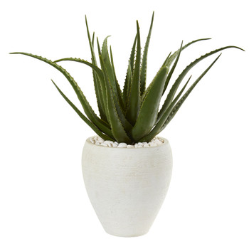 27 Aloe Artificial Plant in White Planter - SKU #9791