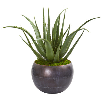 26 Aloe Artificial Plant in Decorative Bowl - SKU #9792