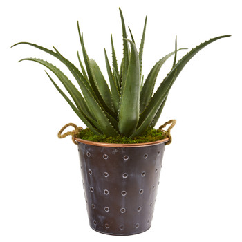 29 Aloe Artificial Plant in Decorative Pail with Rope - SKU #9793