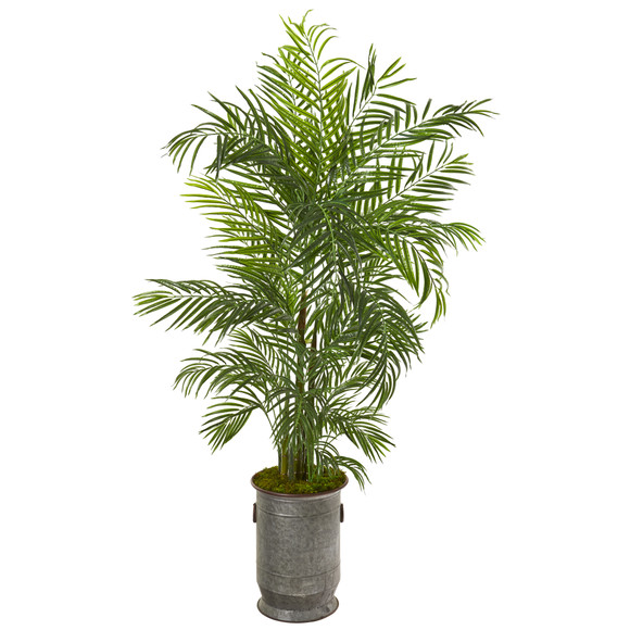 67 Areca Palm Artificial Tree in Vintage Metal Planter UV Resistant Indoor/Outdoor - SKU #9794