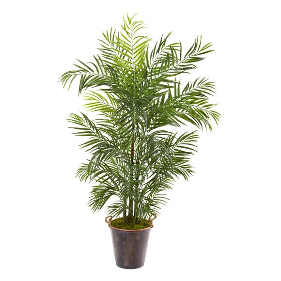 69 Areca Palm Artificial Tree in Metal Pail UV Resistant Indoor/Outdoor - SKU #9796