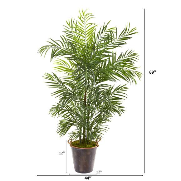 69 Areca Palm Artificial Tree in Metal Pail UV Resistant Indoor/Outdoor - SKU #9796 - 1
