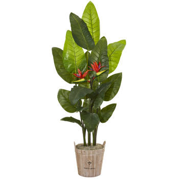 6 Bird of Paradise Artificial Plant in Farmhouse Planter Real Touch - SKU #9798