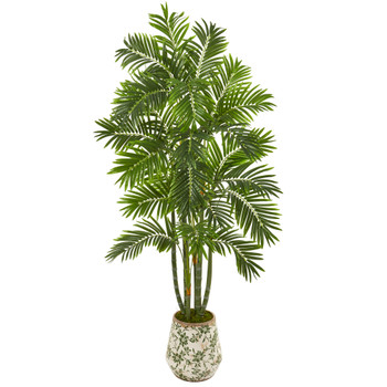 6 Areca Palm Artificial Tree in Vintage Green Floral Planter - SKU #9799