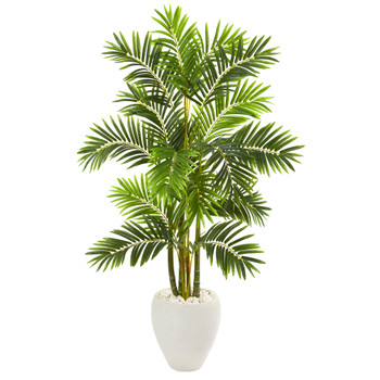 63 Areca Palm Artificial Tree in White Planter - SKU #9805