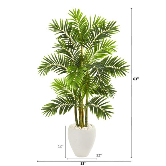 63 Areca Palm Artificial Tree in White Planter - SKU #9805 - 1