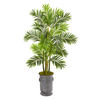 66 Areca Palm Artificial Tree in Metal Planter - SKU #9806