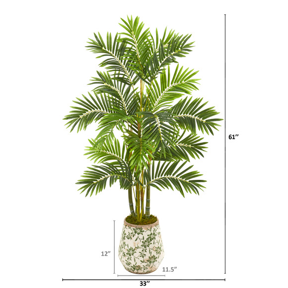 61 Areca Palm Artificial Tree in Floral Planter - SKU #9808 - 1