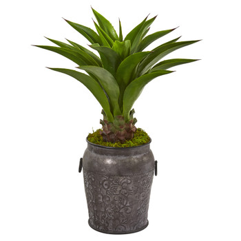 37 Agave Artificial Plant in Metal Planter - SKU #9809