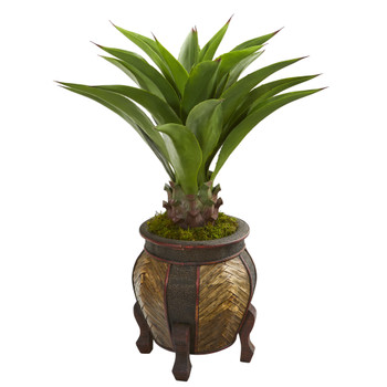 40 Agave Artificial Plant in Decorative Planter - SKU #9810