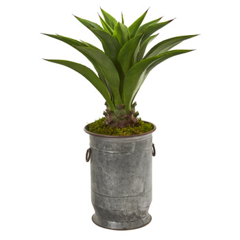 39 Agave Artificial Plant in Metal Planter - SKU #9811