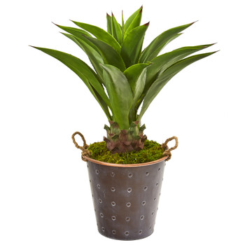 34 Agave Artificial Plant in Decorative Metal Pail with Rope - SKU #9812