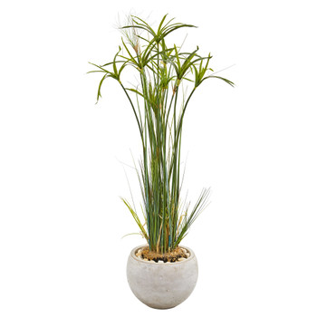 45 Papyrus Artificial Plant in Sand Colored Planter - SKU #9816