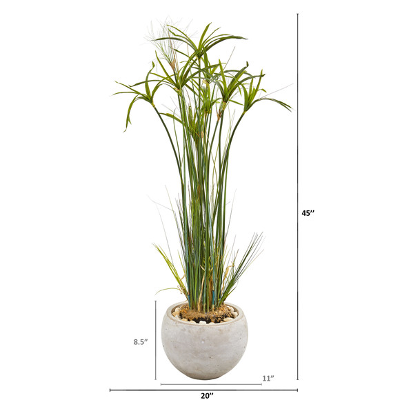 45 Papyrus Artificial Plant in Sand Colored Planter - SKU #9816 - 1