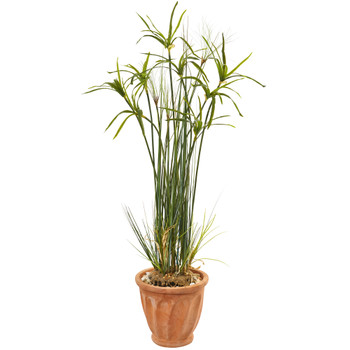 46 Papyrus Artificial Plant in Terracotta Planter - SKU #9817