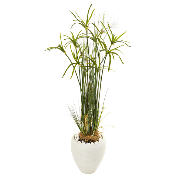 47 Papyrus Artificial Plant in White Planter - SKU #9818