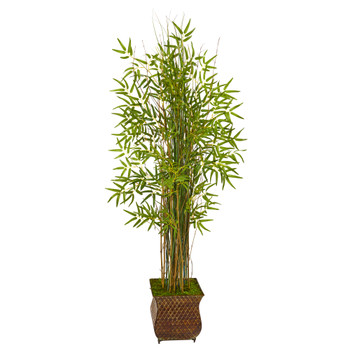 64 Bamboo Grass Artificial Plant in Metal Planter - SKU #9819