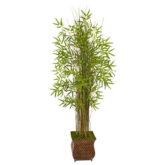 64 Bamboo Grass Artificial Plant in Metal Planter - SKU #9819