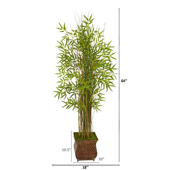 64 Bamboo Grass Artificial Plant in Metal Planter - SKU #9819 - 1