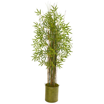 53 Bamboo Grass Artificial Plant in Green Metal Planter - SKU #9820