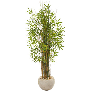 61 Grass Artificial Bamboo Plant in Sand Colored Planter - SKU #9821