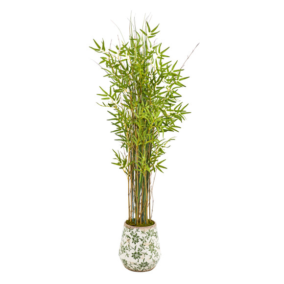 64 Grass Artificial Bamboo Plant in Floral Print Planter - SKU #9823