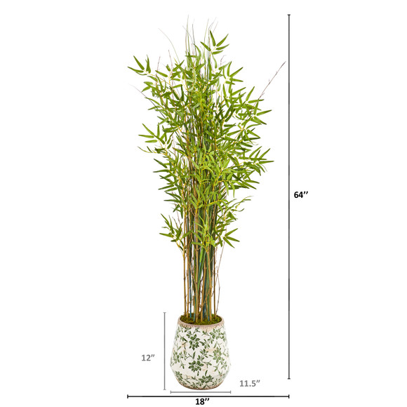 64 Grass Artificial Bamboo Plant in Floral Print Planter - SKU #9823 - 1