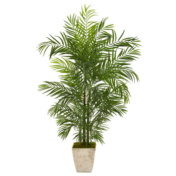 63 Areca Artificial Palm Tree in Country White Planter UV Resistant Indoor/Outdoor - SKU #9829