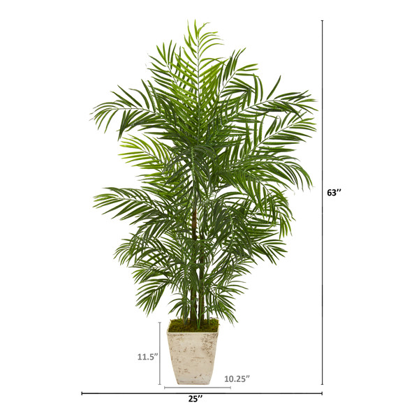 63 Areca Artificial Palm Tree in Country White Planter UV Resistant Indoor/Outdoor - SKU #9829 - 1