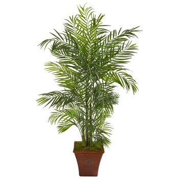 5 Areca Artificial Palm Tree in Brown Planter UV Resistant Indoor/Outdoor - SKU #9831