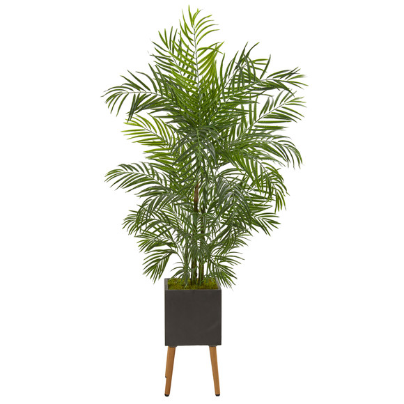 6 Areca Artificial Palm Tree in Black Planter with Stand UV Resistant Indoor/Outdoor - SKU #9832