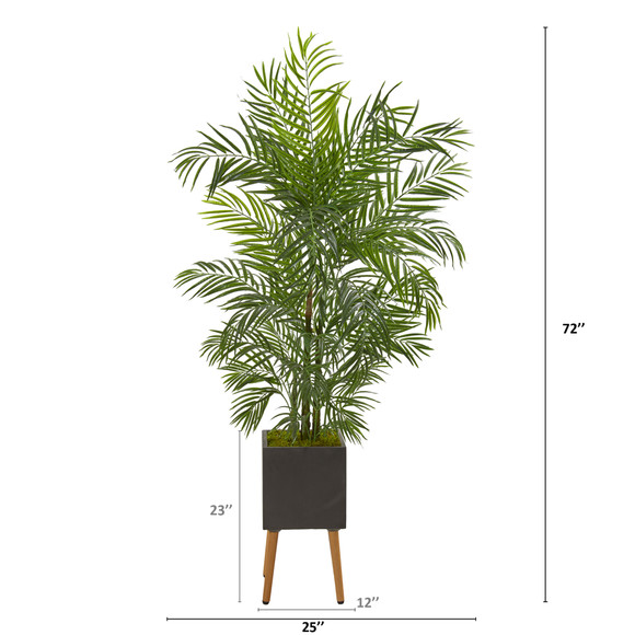 6 Areca Artificial Palm Tree in Black Planter with Stand UV Resistant Indoor/Outdoor - SKU #9832 - 1
