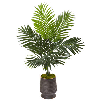 46 Kentia Artificial Palm Tree in Ribbed Metal Planter - SKU #9833