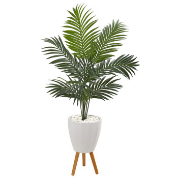 4.5 Kentia Artificial Palm Tree in White Planter with Legs - SKU #9837