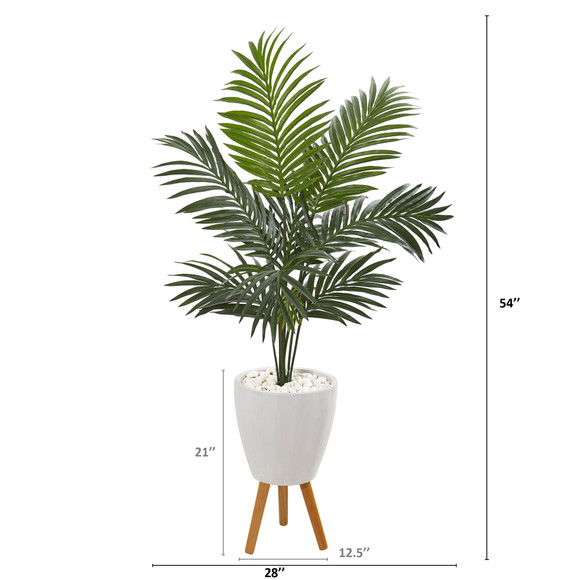 4.5 Kentia Artificial Palm Tree in White Planter with Legs - SKU #9837 - 1