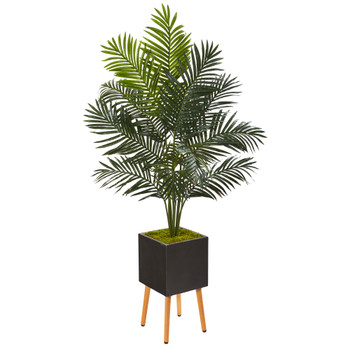 65 Paradise Palm Artificial Tree in Black Planter with Stand - SKU #9841