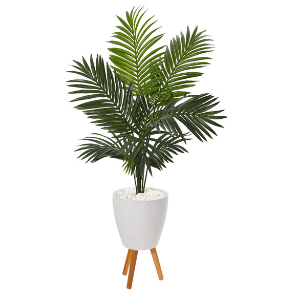61 Paradise Palm Artificial Tree in White Planter with Stand - SKU #9844