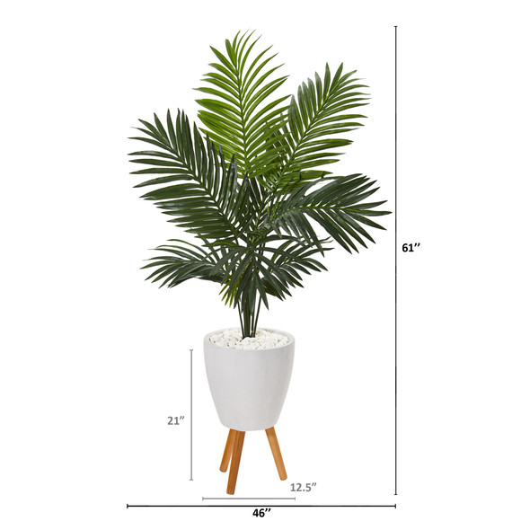 61 Paradise Palm Artificial Tree in White Planter with Stand - SKU #9844 - 1