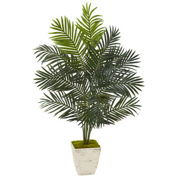 4.5 Paradise Palm Artificial Tree in Country White Planter - SKU #9845