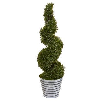 53 Rosemary Spiral Topiary Artificial Tree in Decorative Tin Bucket Indoor/Outdoor - SKU #9847